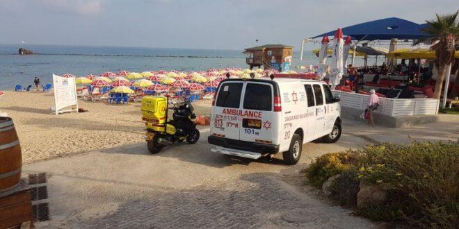 דיווח: בן 60 נורה בחוף גבעת עלייה בתל אביב, מצבו קשה
