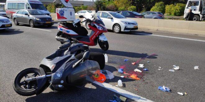 רוכב אופנוע נפצע קשה בתאונת דרכים סמוך למחלף אלוף שדה