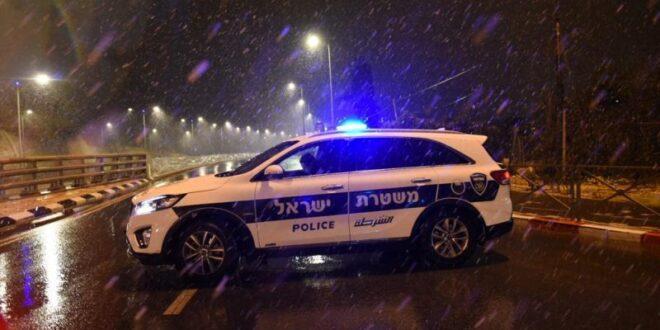 כביש מחסום המנהרות בירושלים נחסם לתנועה בעקבות השלג