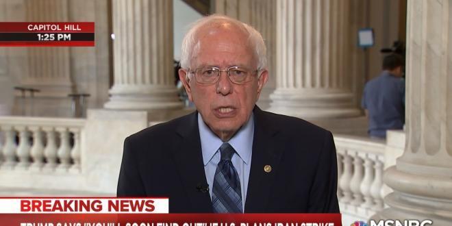 """הסנאטור ברני סנדרס: """"מלחמה עם איראן תהיה אסון לעולם כולו"""""""