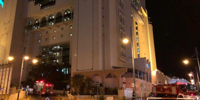 צוותי כיבוי פועלים בדליפת גז מצובר בחניית מלון הרודס באילת
