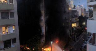שריפה פרצה הערב בבניין ברחוב בר אילן בתל א...