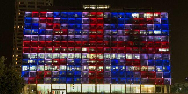 בניין עיריית תל אביב-יפו הואר הערב בדגל בריטניה