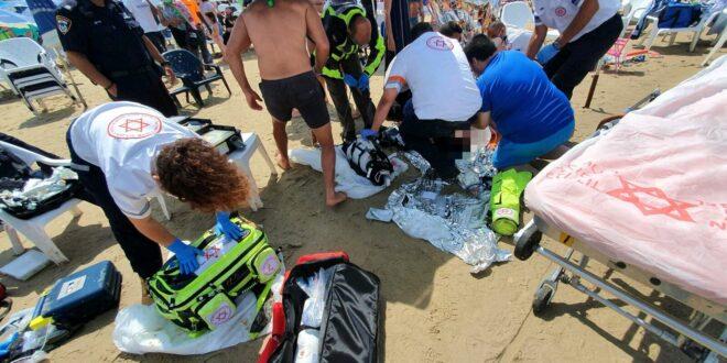 אישה כבת 60 טבעה בחוף הנכים בהרצליה, מצבה אנוש