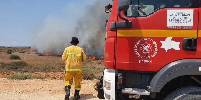 12 שריפות פרצו בעוטף מבלוני תבערה, שריפה באור הנר כילתה 2,000 דונם
