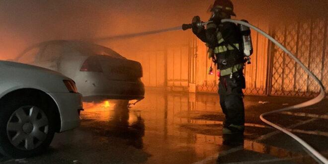 רכב עלה באש בחניון תת קרקעי בחיפה, אין נפגעים