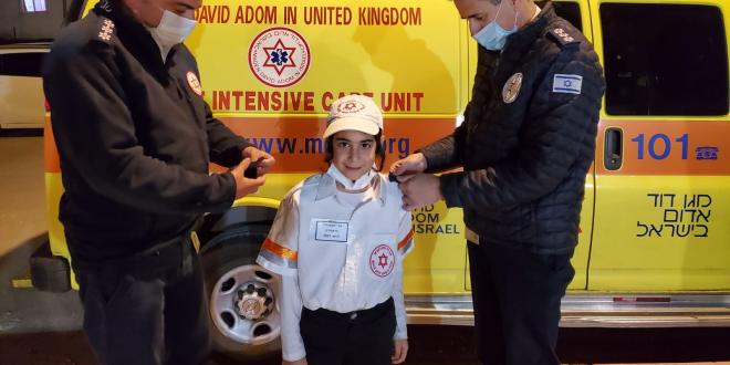 הגשמת חלום בפורים: אורי יהודה בן ה-7 קיבל דרגות פראמדיק בטקס חגיגי