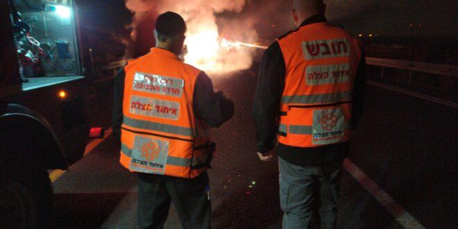 רכב הסעות עולה באש בכביש 9 בסמוך לבאקה אל גרביה, אין נפגעים