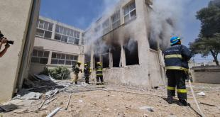אשקלון - שריפה בעקבות פגיעה ישירה בבית ספר...