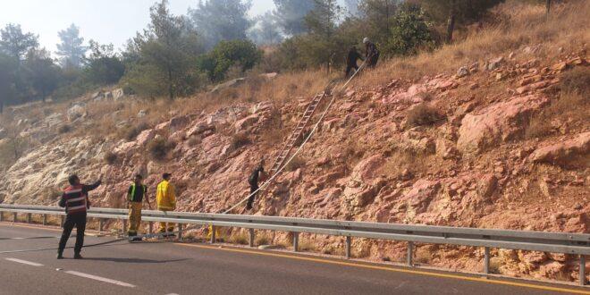 שריפה גדולה בוערת סמוך למערת הנטיפים בהרי ירושלים, צוותי כיבוי במקום