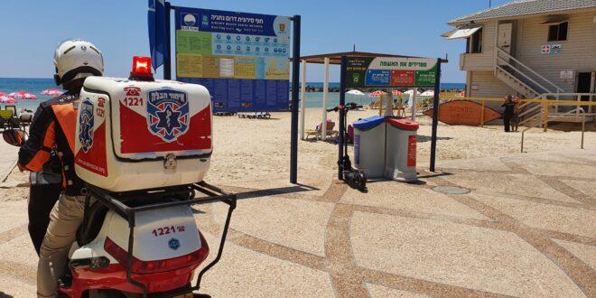 גבר בן 60 טבע בחוף הים בנתניה, מצבו קשה