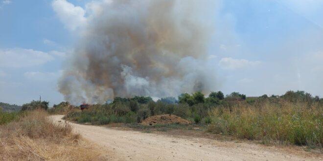שריפה גדולה פרצה צפונית למושב בית נחמיה, כוחות כיבוי במקום