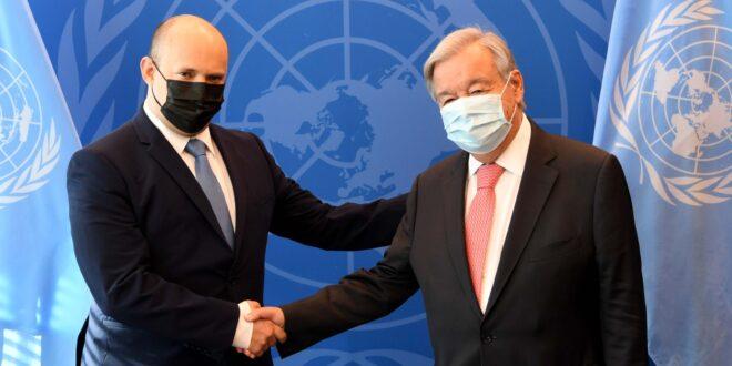 """לאחר הנאום במליאה: רה""""מ בנט נפגש עם מזכ""""ל האו""""ם גוטרש"""