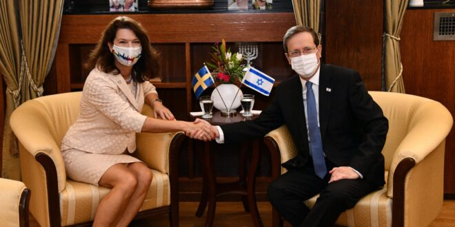 לאחר הפשרת היחסים: הנשיא הרצוג נפגש עם שרת החוץ של שבדיה