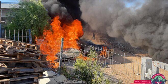 שריפה פרצה במפעל מחזור באלון תבור, לא דווח על נפגעים