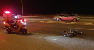 רוכב אופניים בן 40 נפצע אנוש מפגיעת רכב בסמוך למושב עוזה